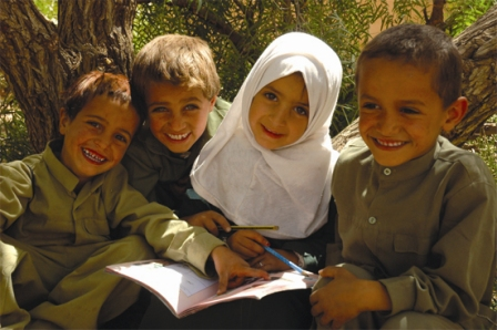 4 children in Yemen smiling