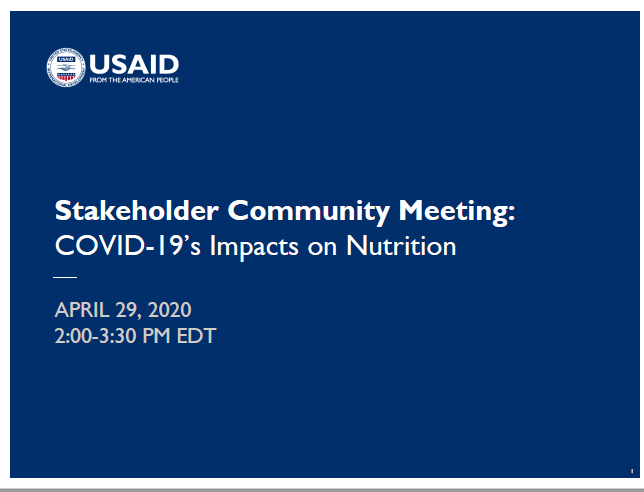 Stakeholder Community Meeting: COVID-19's Impacts on Nutrition