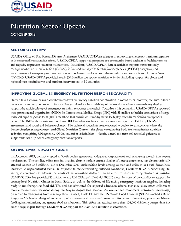 USAID/OFDA Nutrition Sector Update