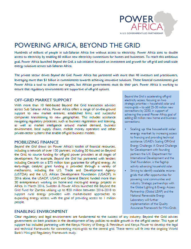 Power Africa - Beyond the Grid Fact Sheet - February 2017