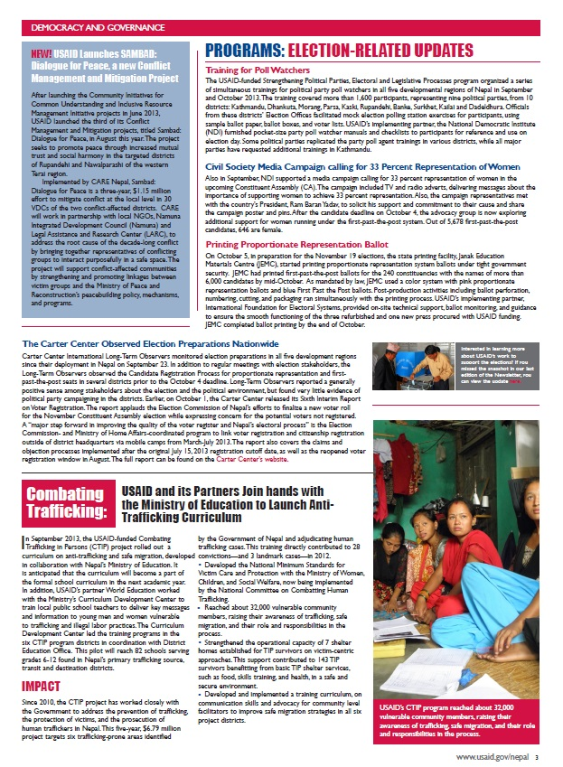 USAID/Nepal Quarterly Newsletter - July-September 2013 - Page 3