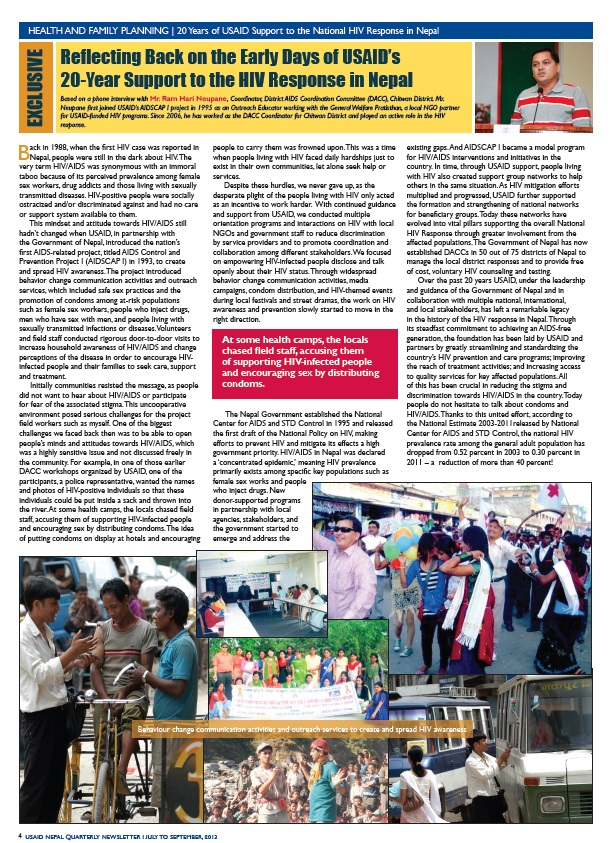 USAID Nepal Quarterly Newsletter - July-September 2013 - Page 4