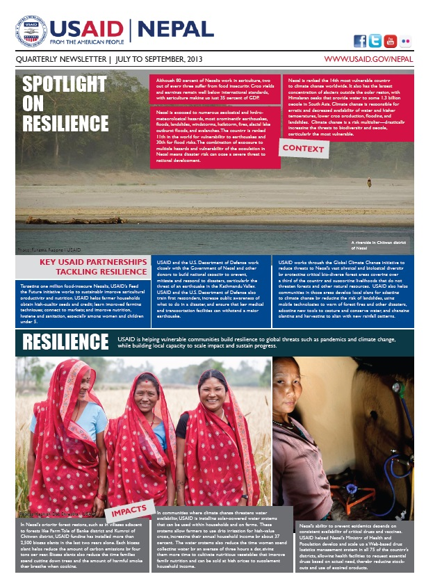 USAID/Nepal Quarterly Newsletter - July-September 2013 - Page 1