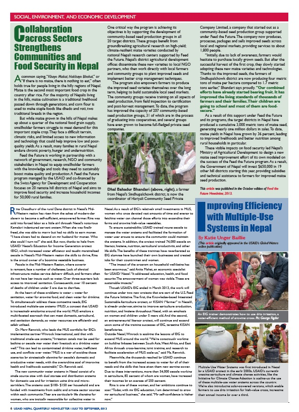 USAID/Nepal Quarterly Newsletter - July-September 2013 - Page 6