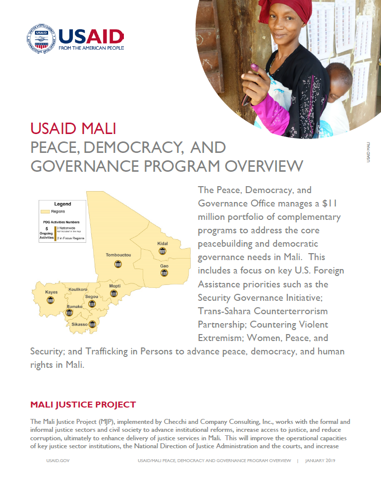 Mali Peace, Democracy & Governance Program Overview
