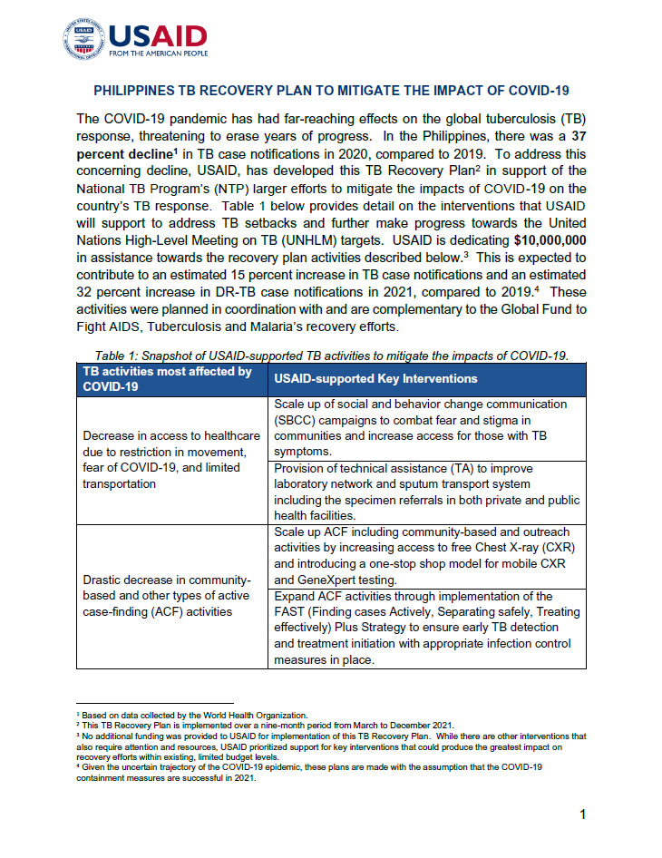 Philippines TB Recovery Plan To Mitigate The Impact Of COVID-19