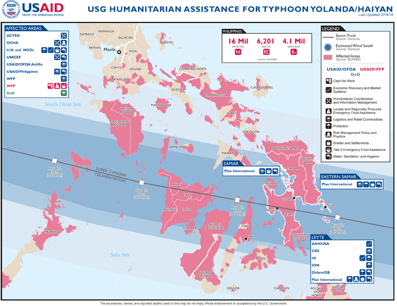Philippines Typhoon Yolanda Program Map - 02-18-2014