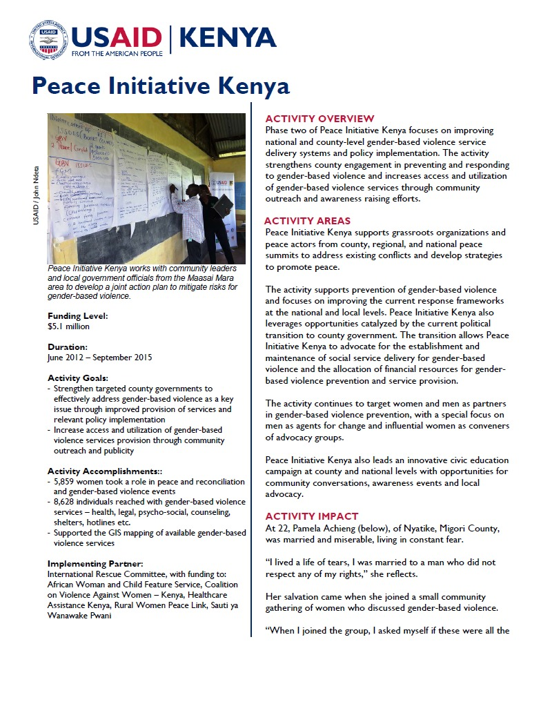 Peace Initiative Kenya Fact Sheet August 2014