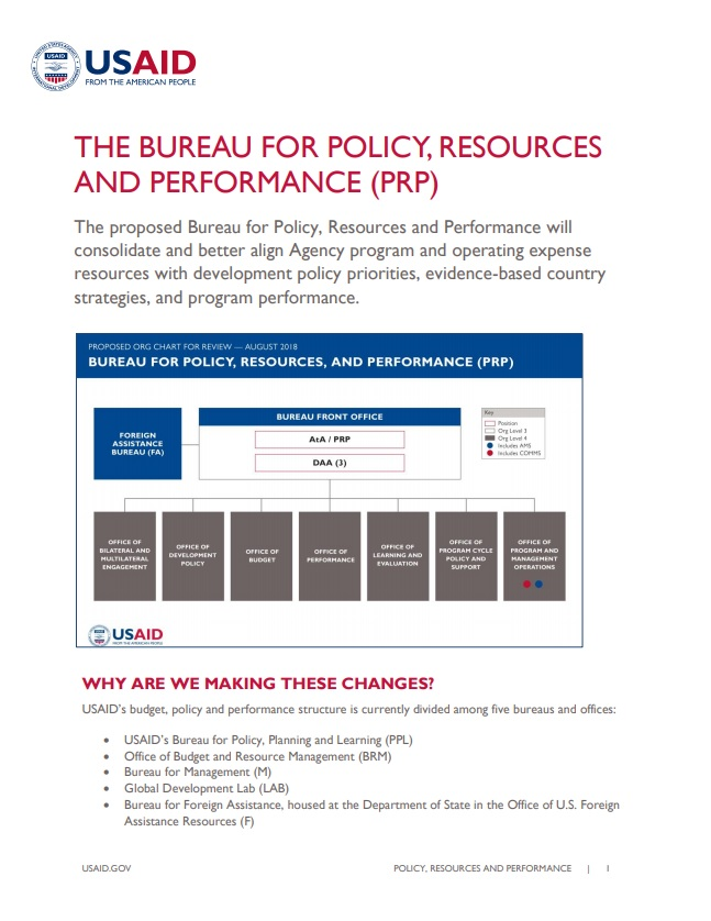 Fact Sheet: The Bureau for Policy, Resources, and Performance (PRP)