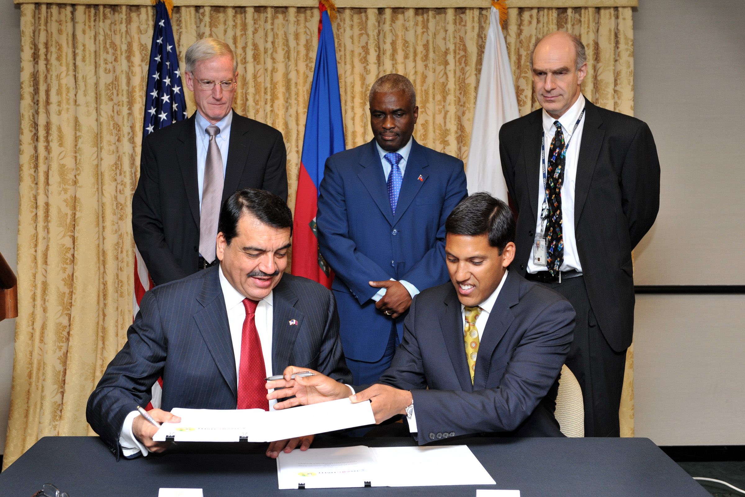 USAID Administrator Rajiv Shah (right) and Mohamed Bin Abdulla Al-Rumaihi, Qatari Ambassador to the United States and chairman f