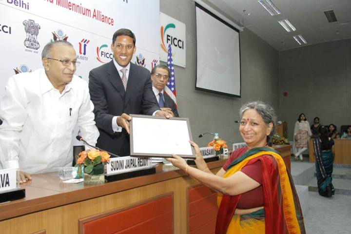 One of the winners receiving the award certificate from Honorable Minister for Science and Technology and Earth Sciences Mr. S.