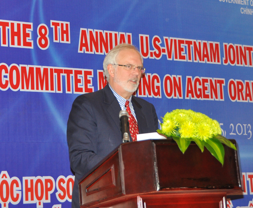 U.S. Ambassador to Vietnam David B. Shear speaks at the opening ceremony of the JAC meeting.