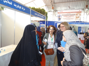 USAID Mission Director to Egypt Dr. Mary C. Ott speaks with job fair participants
