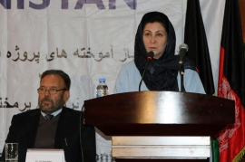 Minister of Women's Affairs Husn Banu Ghazanfar speaks at the final conference presenting the USAID Land Reform Project achievem