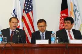 (L-R) USAID Assistant to the Administrator for Afghanistan and Pakistan Affairs Larry Sampler, Afghan Finance Minister Omar Zakh