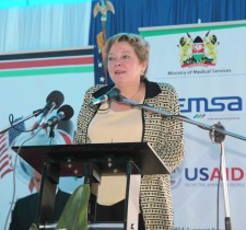 USAID Mission Director, Karen Freeman marks World AIDS Day at KEMSA. Photo by USAID/Linda Musiime