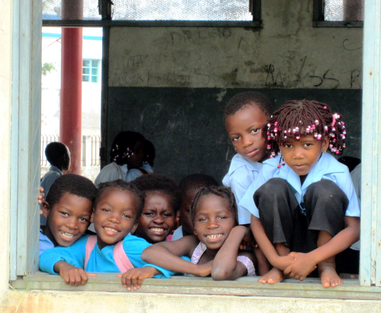 A group of children at a school in Zambezia province, Mozambique