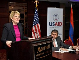 USAID Armenia Mission Director Karen Hilliard presented 2013-2018 CDCS for Armenia