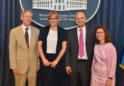 From left to right: Ambassador Michael D. Kirby, Minister of Regional Development and Local Self-Government Verica Kalonović, NA