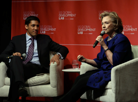 USAID Administrator Rajiv Shah and former U.S. Secretary of State Hillary Clinton at the Lab's official launch
