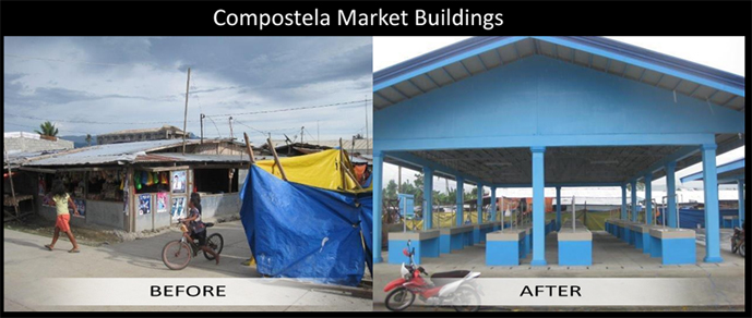 The newly constructed market buildings in Compostela Valley funded by USAID.