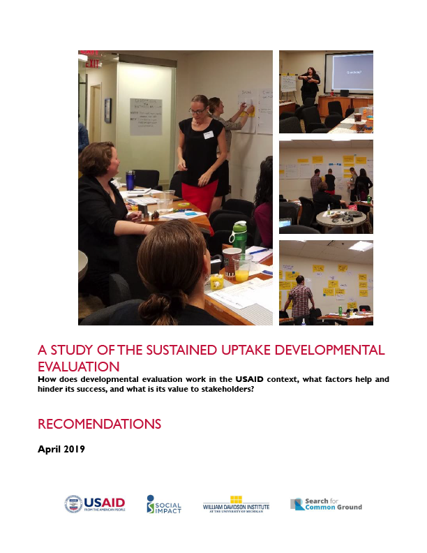 A Study of the Sustained Uptake Developmental Evaluation - Recommendations