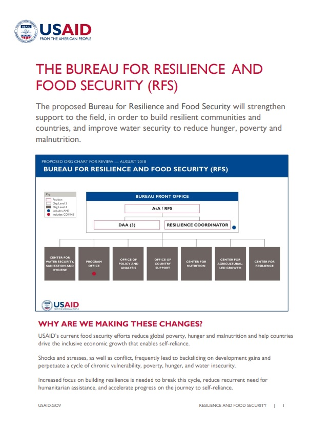 Fact Sheet: The Bureau for Resilience and Food Security (RFS)