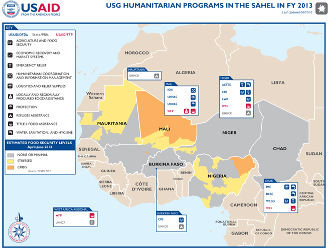 Sahel Food Insecurity and Complex Emergency Program Map - 04-01-2013