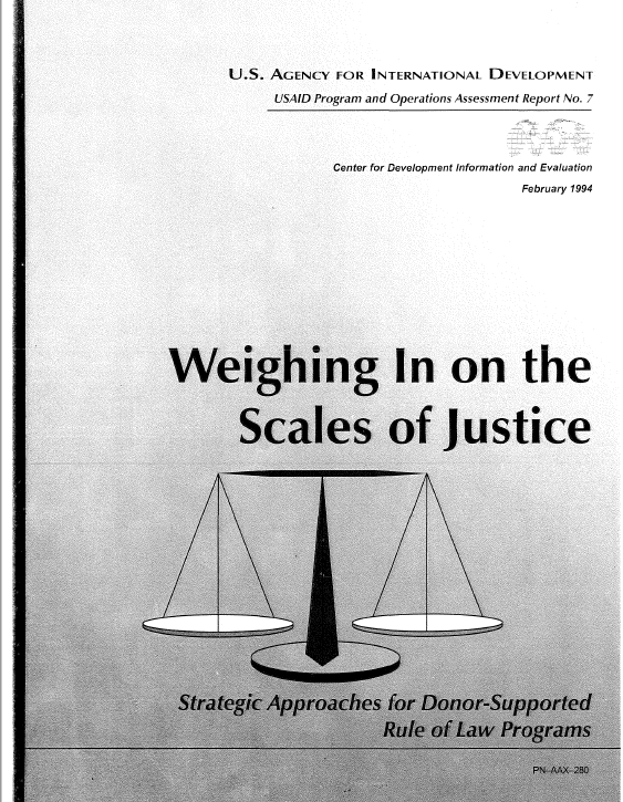 Strategic Approaches for Donor-Supported Rule of Law Programs