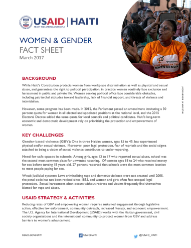 Women & Gender Fact Sheet (2017)
