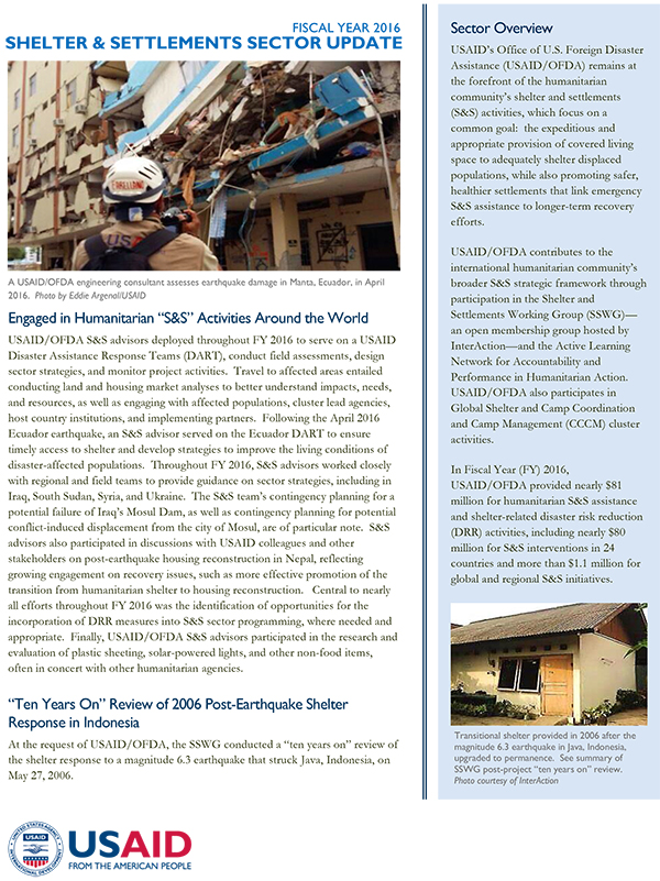 USAID/OFDA Shelter and Settlements Sector Update