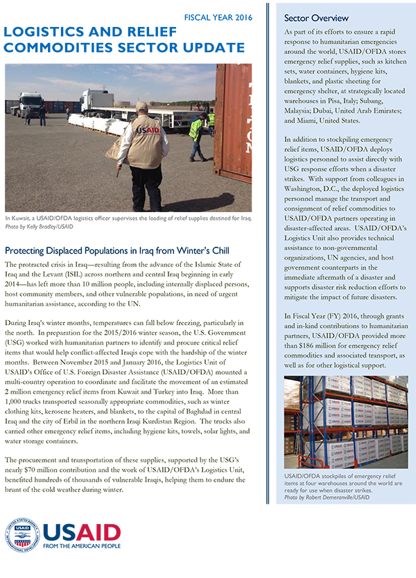 USAID/OFDA Logistics and Relief Commodities Sector Update