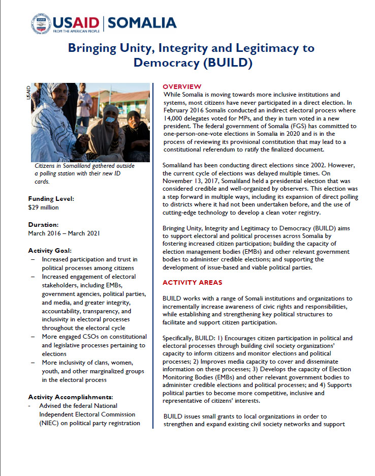 Fact Sheet - BUILD Somalia