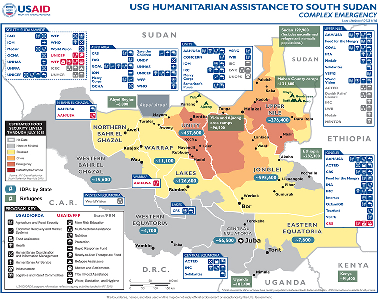 South Sudan Map - 07-31-2015