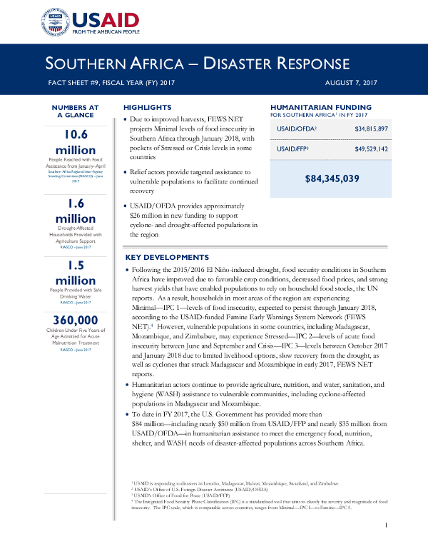 Southern Africa Disaster Response Fact Sheet #9 - 08-07-2017
