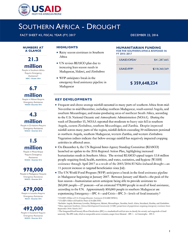 Southern Africa Drought Fact Sheet #3 - 12-22-2016