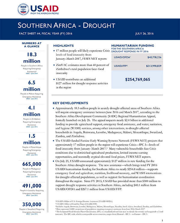 Southern Africa Drought Fact Sheet #4 - 07-26-2016