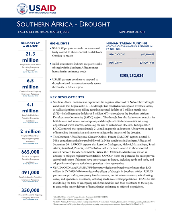 Southern Africa Drought Fact Sheet #6 - 09-30-2016