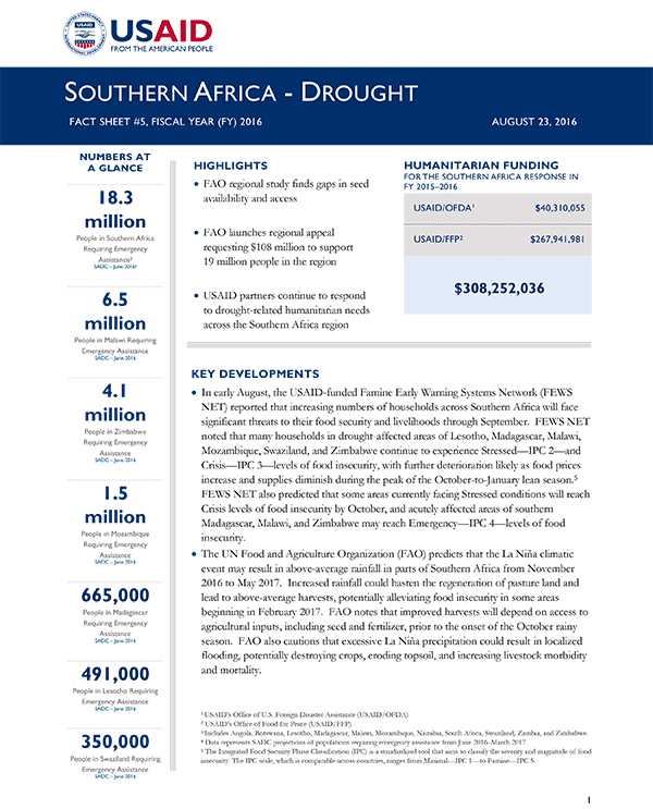 Southern Africa Drought Fact Sheet #5 - 08/23/2016