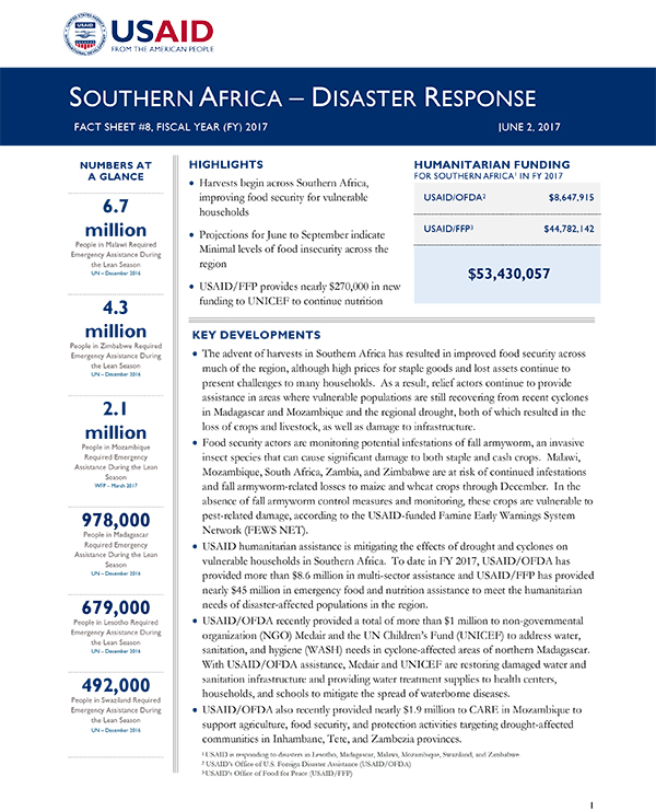 Southern Africa Disaster Response Fact Sheet #8