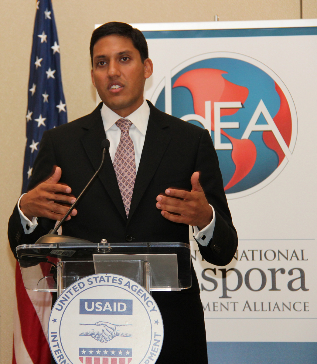 Administrator Rajiv Shah speaking at the Global Diaspora Forum