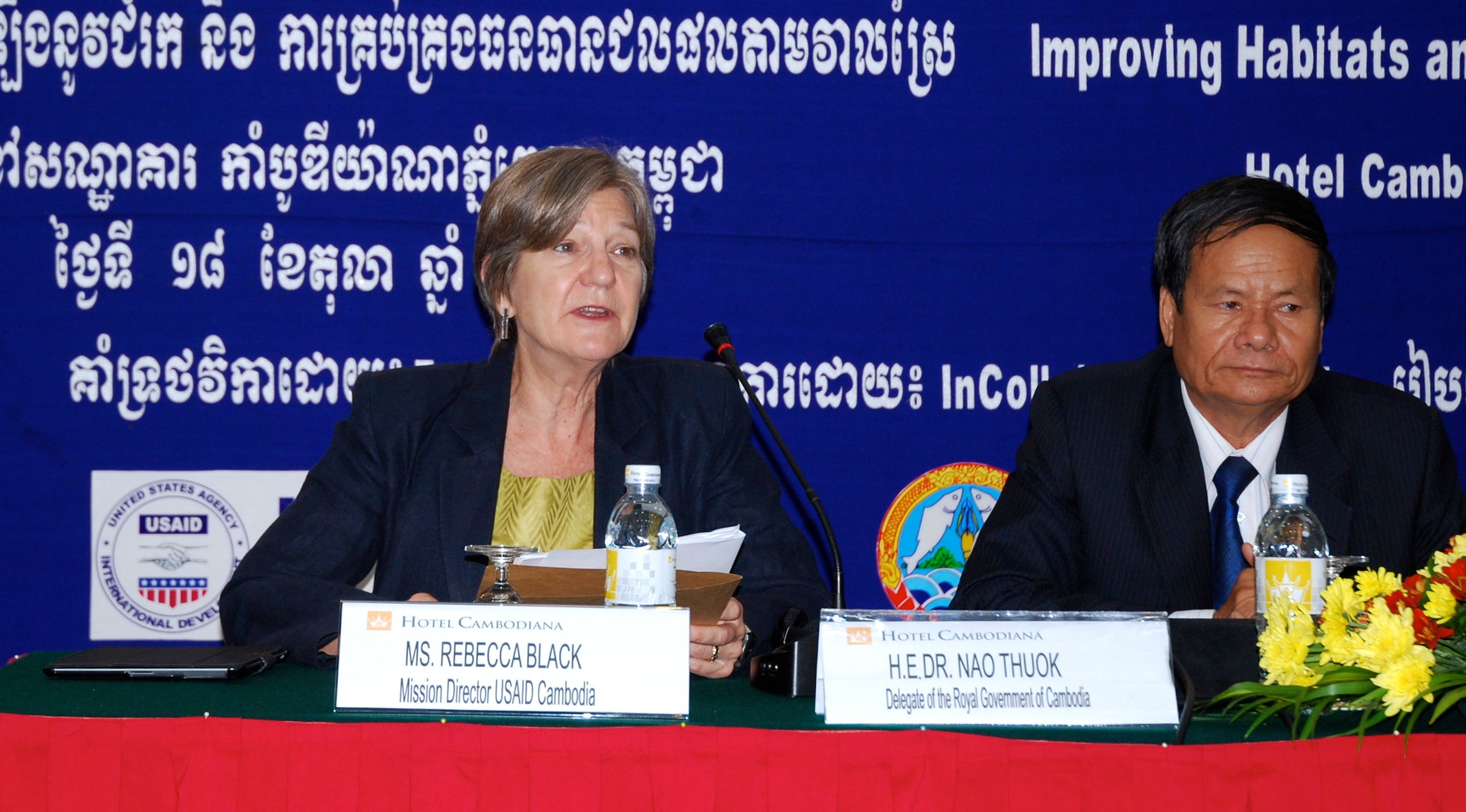 USAID Cambodia Mission Director Rebecca Black delivers remarks on October 18, 2013.