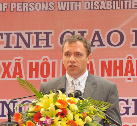 USAID Acting Mission Director Randolph Flay speaks at the International Day of Persons with Disabilities event.