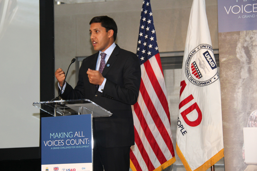 Administrator Rajiv Shah at the launch of Making All Voices Count