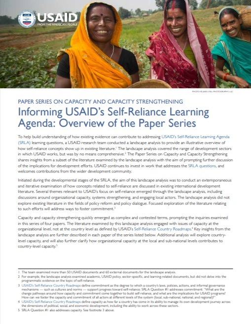 SRLA: Overview of the Paper Series on Capacity and Capacity Strengthening