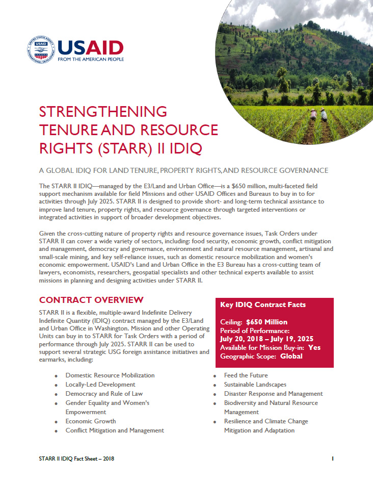 Strengthening Tenure and Resource Rights (STARR) II IDIQ
