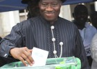 Nigerian President Goodluck Jonathan casts his vote for president in Ogbia district,  Bayelsa state,  April 16, 2011. The follow