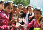 School children in Khatlon enjoy their first taste of drinking water outside their school.
