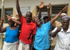 Visitors outside the Maborognor Maternal and Child Health Post in Sierra Leone