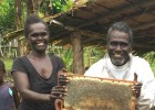Mendana Tutikera of Pine village in the Solomon Islands harvests honey. With income from his bees, he pays school fees for his g